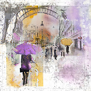 Sketch of a person with a purple umbrella against city elements on a light purple and yellow watercolor background
