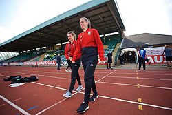 NEWPORT, WALES - Tuesday, June 12, 2018: Wales' goalkeeper Claire Skinner (left) and Laura O'Sullivan (right) arrive before the FIFA Women's World Cup 2019 Qualifying Round Group 1 match between Wales and Russia at Newport Stadium. (Pic by David Rawcliffe/Propaganda)