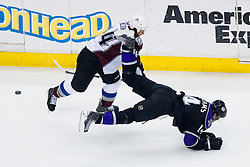 Justin Williams (Los Angeles Kings, #14) vs Ryan Wilson (Colorado Avalanche, #44) during ice-hockey match between Los Angeles Kings and Colorado Avalanche in NHL league, Februar 26, 2011 at Staples Center, Los Angeles, USA. (Photo By Matic Klansek Velej / Sportida.com)
