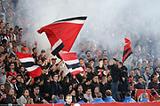 Suporters of Stade Rennais in stands with flags during the French championship L1 football match between Rennes v Lyon, on August 11, 2017 at Roazhon Park stadium in Rennes, France - Photo Stephane Allaman / ProSportsImages / DPPI