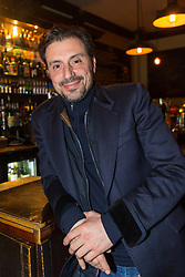 Proprietor Ollver Dimaria of The Carpenters Arms in Cheshire Street in East London's Bethnal Green, which was once the scene of frivolous parties hosted by Reggie and Ronnie Kray, who dominated the capital's criminal underworld in the 50s and 60s. In 1967 they bought the pub for their mother, two years before they were given life sentences for their crimes. LONDON, January 10 2019.