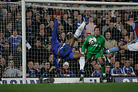 Photo: Marc Atkins.<br /> Chelsea v Aston Villa. Carling Cup. 08/11/2006.<br /> Didier Drogba misses a shot with a scissor kick.