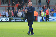 Jim Bentley Manager of Morecambe celebates victory during the EFL Sky Bet League 2 match between Morecambe and Newport County at the Globe Arena, Morecambe, England on 16 September 2017. Photo by Mick Haynes.