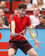 DOMINIC THIEM (AUT),Rueckhand,action, Aktion, Einzelbild,  Halbkoerper,<br /> <br /> Tennis - ERSTE BANK OPEN 2017 - ATP 500 -  Stadthalle - Wien -  - Oesterreich  - 26 October 2017. <br /> © Juergen Hasenkopf
