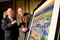 24/01/2013 Repro free.  Artist Ted Turton and actor Frank Kelly at Hotel Meyrick for the unveiling of a commissioned painting to celebrate Hotel Meyrick's intrinsic link with the arts and culture of Galway city, coinciding with the hotel's 160th anniversary.Picture:Andrew Downes