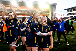 Taz Bricknell and Laura Thomas of Worcester Warriors Women celebrate victory over Bristol Bears Women - Mandatory by-line: Robbie Stephenson/JMP - 01/12/2019 - RUGBY - Sixways Stadium - Worcester, England - Worcester Warriors Women v Bristol Bears Women - Tyrrells Premier 15s