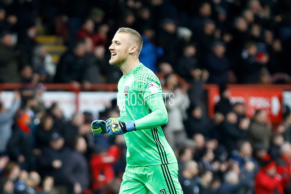 Brentford goalkeeper Daniel Bentley (1) celebrates a goal (score  1-0)  during the EFL Sky Bet Championship match between Brentford and Rotherham United at Griffin Park, London, England on 25 February 2017. Photo by Andy Walter.