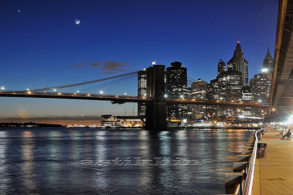 Manhattan embankment on twilight,
