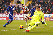 Chelsea goalkeeper Thibaut Courtois (13) saves with his feet during the Premier League match between Burnley and Chelsea at Turf Moor, Burnley, England on 12 February 2017. Photo by Simon Davies.