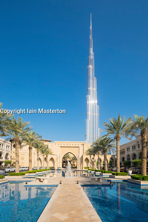 View of Burj Khalifa in Downtown Dubai United Arab Emirates