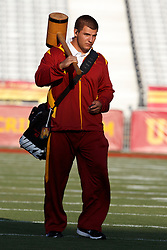 September 11, 2010; Los Angeles, CA, USA;  Southern California Trojans kicker Jacob Harfman (48) carries a large wooden hammer before the game against the Virginia Cavaliers at the Los Angeles Memorial Coliseum. USC defeated Virginia 17-14.