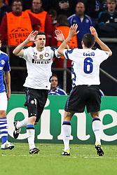 13.04.2011, Veltins Arena, Gelsenkirchen, GER, UEFA CL Viertelfinale, Rueckspiel, FC Schalke 04 (GER) vs Inter Mailand (ITA), im Bild: Torjubel / Jubel nach dem 1:1 durch Thiago Motta (Mailand #8) (L) mit Lucio (Mailand #6) (R)   EXPA Pictures © 2011, PhotoCredit: EXPA/ nph/  Mueller       ****** out of GER / SWE / CRO  / BEL ******