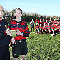 Captain Steven Collins with coaches Paul Nevill, John Sweeney, Frank Considine and  Eoin Tynan O'Mahoney <br /><br />along with the Ennis U-15 panel who won the North Munster League.<br /><br />Photograph by Yvonne Vaughan.