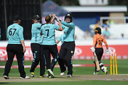 Sarah Taylor and Surrey Stars celebrate the wicket of Tammy Beaumont during the Women's Cricket Super League match between Southern Vipers and Surrey Stars at the 1st Central County Ground, Hove, United Kingdom on 14 August 2018.