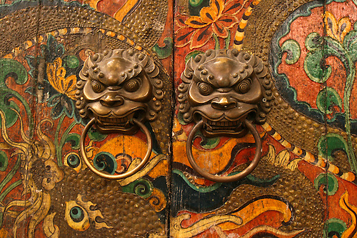 Chinese Lion Doorknobs Chinese architecture refers to a style of architecture that has taken shape. & Chinese Door Beijing | John Lander Photography