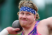 Ryan Crouser (USA) places second in the shot put at 70-8½ (21.55m) during the Grand Prix Birmingham in an IAAF Diamond League meet at Alexander Stadium in Birmingham, United Kingdom on Sunday, August 20, 2017. (Jiro Mochizuki/Image of Sport)