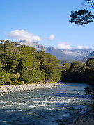 View up the Martyr River toward the Olivine Range, West Coast, New Zealand.