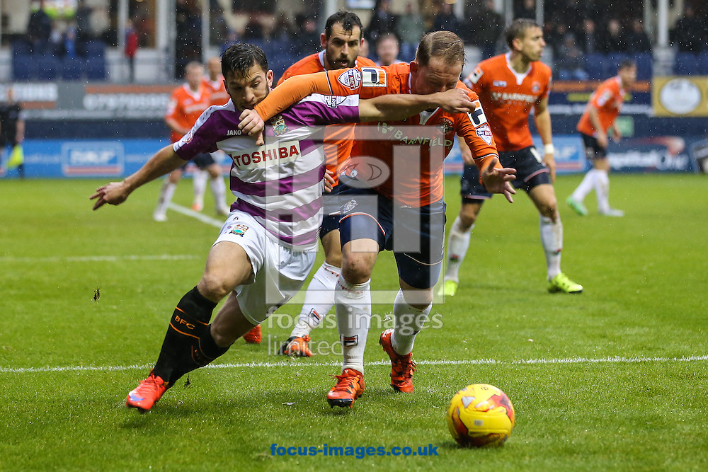 Danny Green of Luton Town (right) and Luke Gambin of Barnet battle for the ball during the Sky Bet League 2 match at Kenilworth Road, Luton<br /> Picture by David Horn/Focus Images Ltd +44 7545 970036<br /> 14/11/2015