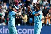 England win - Ben Stokes of England and Jofra Archer of England celebrate beating Bangladesh by 106 runs during the ICC Cricket World Cup 2019 match between England and Bangladesh the Cardiff Wales Stadium at Sophia Gardens, Cardiff, Wales on 8 June 2019.