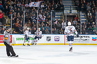 KELOWNA, BC - NOVEMBER 16: Connor Zary #18 of the Kamloops Blazers skates toward Ryan Hughes #21 of the Kamloops Blazers to celebrate a goal against the Kelowna Rockets at Prospera Place on November 16, 2019 in Kelowna, Canada. (Photo by Marissa Baecker/Shoot the Breeze)
