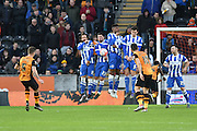 Hull City defender Ryan Taylor (5) takes free kick towards goal  during the The FA Cup match between Hull City and Brighton and Hove Albion at the KC Stadium, Kingston upon Hull, England on 9 January 2016. Photo by Ian Lyall.