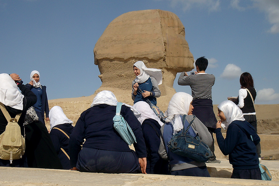Egyptian schoolgirls on a field trip to the Great Sphinx and the Giza Plateau.