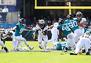 Oct 13, 2019; Jacksonville, FL USA;  New Orleans Saints running back Alvin Kamara (41) runs for yardage against the Jacksonville Jaguars during an NFL game at TIAA Bank Field in Jacksonville, FL. The Saints beat the Jaguars 13-6. (Steve Jacobson/Image of Sport)