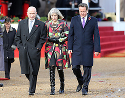 UK Prime Minister David Cameron (right) with Foreign Secretary William Hague and Home Secretary Theresa May  during a Ceremonial Welcome for the President of  the Republic of Korea at  Horse Guards Parade in London , Tuesday, 5th November 2013. Picture by Stephen Lock / i-Images