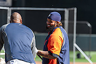 Prince Fielder #28 of the Detroit Tigers laughs with teammate Delmon Young #21 during batting practice before a game against the Minnesota Twins on September 29, 2012 at Target Field in Minneapolis, Minnesota.  The Tigers defeated the Twins 6 to 4.  Photo: Ben Krause