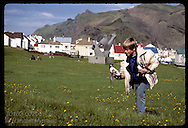 Boy carries two puffin chicks he rescued in Heimaey park for release at sea; August/Westmann Iceland