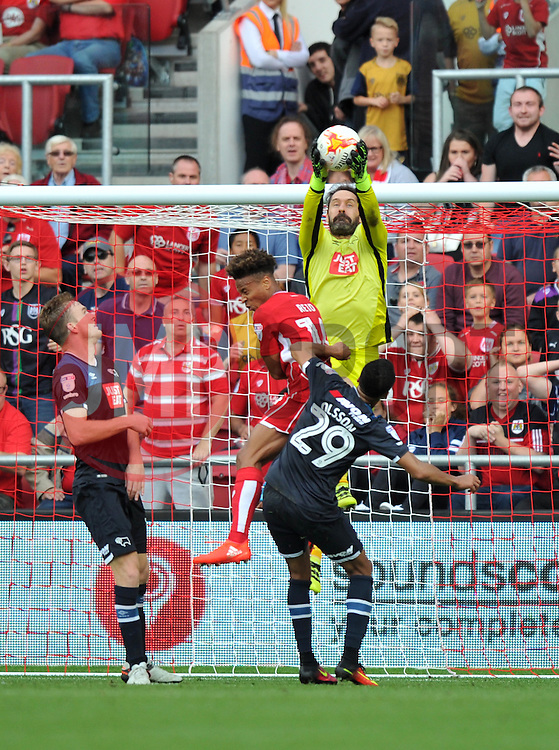 Scott Carson of Derby County makes a save - Mandatory by-line: Paul Knight/JMP - 17/09/2016 - FOOTBALL - Ashton Gate Stadium - Bristol, England - Bristol City v Derby County - Sky Bet Championship