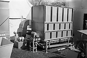 "29/04/1962<br /> 04/29/1962<br /> 29 April 1962<br /> Farm machinery at the R.D.S. Spring Show, Ballsbridge Dublin, feature with Julian Bayley for Farming Express. Image shows a ""Kenway"" Dryer."