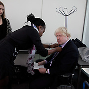 Behind the scenes filming of London Mayor Boris Johnson's New Years Eve message.