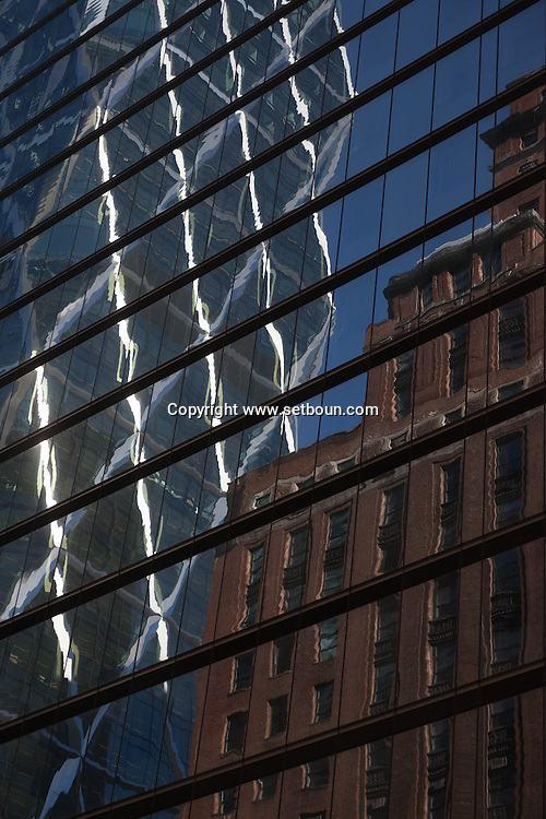 New york midtown Hearst tower, Foster building reflection, Manhattan - United states