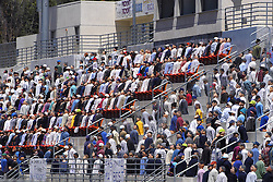 """K:\Editorial\Photos\7 July 2005\JH 8-4-05 FOOTBALL FOR DUMMIESóThe Westlake High School stadium seats are filled with dummies during the filming for the movie """"Gridiron Gang"""" starring Dwayne ìThe Rockî Johnson  and rapper Xzibit."""
