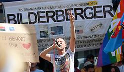 13.06.2015, Telfs, AUT, Demonstration gegen die Bilderbergkonferenz, im Bild ein Demonstrant bei einer Rede // a protester holding a speak during a demonstration agiainst the bilderberg group in Telfs, Austria on 2015/06/13. EXPA Pictures © 2015, PhotoCredit: EXPA/ Jakob Gruber