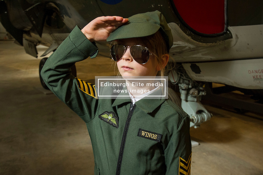 Pictured: Arabella Cotter (7) from  Athelstaneford Primary School, earned her wings<br /> <br /> The redeveloped National Museum of Flight at East Fortune has undergone a  £3.6 million refurbishment and now has aeroplanes including a Spitfire, a Harrier Jump Jet and a Tornado T-3 on display.    (c) Ger Harley, EEm 22 March 2016