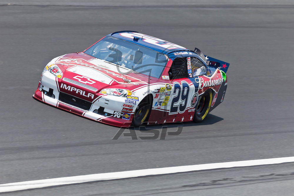 CONCORD, NC - MAY 26, 2012:  Kevin Harvick (29) brings his Budweiser Ford on the track for a practice session for the Coca-Cola 600 at the Charlotte Motor Speedway in Concord, NC.