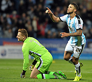 Nahki Wells of Huddersfield Town celebrates his goal against Milton Keynes Dons during the Sky Bet Championship match at the John Smiths Stadium, Huddersfield<br /> Picture by Graham Crowther/Focus Images Ltd +44 7763 140036<br /> 20/10/2015