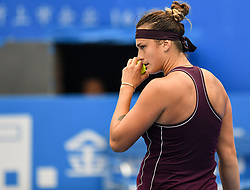 SHENZHEN, Jan. 5, 2019  Aryna Sabalenka of Belarus reacts during the final match against Alison Riske of the United States at the WTA Shenzhen Open tennis tournament in Shenzhen, south China's Guangdong Province, Jan. 5, 2019. Aryana Sabalenka won 2-1 and claimed the title. (Credit Image: © Xinhua via ZUMA Wire)