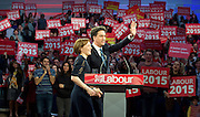 Ed Miliband <br /> Leader of the Labour Party <br /> Campaign Event at The Royal Horticultural Halls, 80 Vincent Square, London, SW1P 2PE<br /> 2nd May 2015 <br /> <br /> Ed Miliband MP <br /> Labour Leader <br /> General Election Campaign 2015 <br /> <br /> Justine Miliband <br /> <br /> Photograph by Elliott Franks <br /> Image licensed to Elliott Franks Photography Services