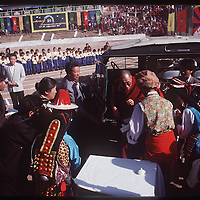 Photo by David Stephenson.  Dalai Lama arrives at festivities at annual Tibetan Children Village celebration in Dharamsala, India, in 11/91.