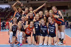 07-01-2016 TUR: European Olympic Qualification Tournament Nederland - Kroatie, Ankara<br /> Nederland verslaat Kroatië met 3-0 en gaat als groepswinnaar de halve finale in / een blije Oranje