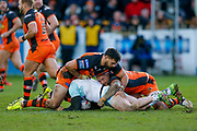 Castleford Tigers replacement Matt Cook (18) and Castleford Tigers replacement Nathan Massey (14) in the tackle during the Betfred Super League match between Castleford Tigers and Widnes Vikings at the Jungle, Castleford, United Kingdom on 11 February 2018. Picture by Simon Davies.
