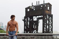 rugged shirtless man in New York City