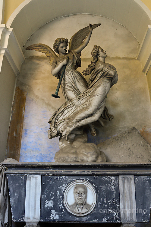 Genoa.  The Cimitero monumentale di Staglieno is famous for its monumental sculpture. Tomba Piaggio by F. Fabiani 1876. Covering an area of more than a square kilometre, it is one of the largest cemeteries in Europe.