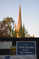 Thank you NHS and all key workers poster, Norwich Cathedral in Norwich during Coronavirus lockdown.  UK April 2020