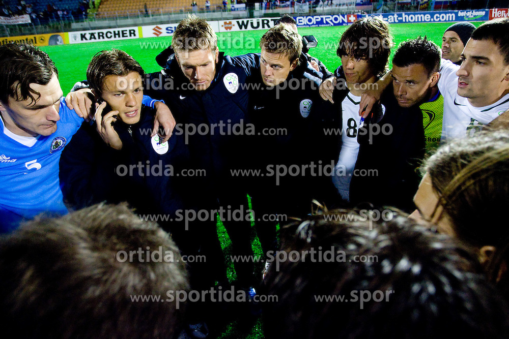 Slovenian players Milivoje Novakovic of Slovenia, Zlatko Dedic of Slovenia, Matej Mavric of Slovenia, Goalkeeper of Slovenia Aleksander Seliga, Rene Krhin, Anton Zlogar and Branko Ilic of Slovenia waiting to the end of match Poland vs Slovakia after the last 2010 FIFA World Cup South Africa Qualifying match in Group 3 between San Marino and Slovenia, on October 14, 2009, in Olimpico Stadium, Serravalle, San Marino. Slovenia won 3:0. (Photo by Vid Ponikvar / Sportida)