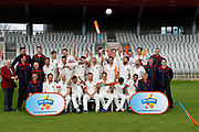 Lancashire County Cricket Club PhotoCall 2017 at Old Trafford, Manchester, England on 31 March 2017. Photo by Craig Galloway.<br /> <br /> Lancashire's squad in the County Championship Whites Kit.<br /> <br /> End of the Photo-shoot as the players celebrate by throwing balls and bats at the photographers.<br /> <br /> L-R: (Players only)<br /> Back Row - Jordan Clark, Daniel Lamb, Matthew Parkinson, Saqib Mahmood, Brooke Guest, Josh Bohannon, Rob Jones.<br /> Middle Row - Toby Lester, Jordan Clark, Tom Bailey, Liam Livingstone, Dane Vilas, Arron Lilley, Luke Procter.<br /> Front Row - Stephen Parry, Karl Brown, James Anderson, Steven Croft, Kyle Jarvis, Simon Kerrigan, Haseeb Hameed.