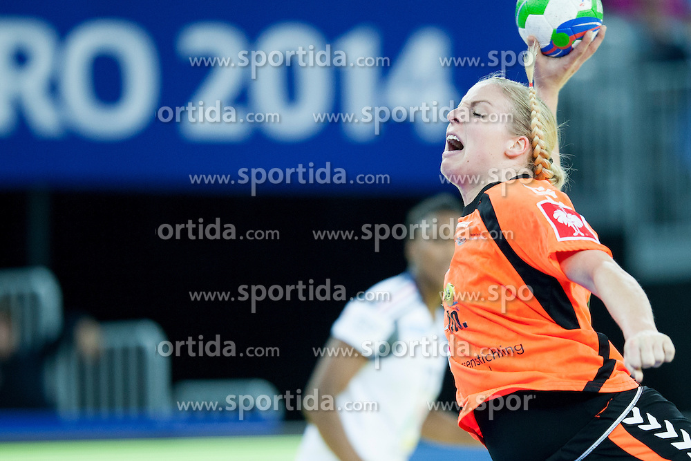 Danick Snelder #10 of Netherlands at handball match between Netherlands and France at 11th EHF European Women's Handball Championship Hungary-Croatia 2014, on December 17, 2014 in Arena Zagreb, Zagreb, Croatia. Photo By Urban Urbanc / Sportida
